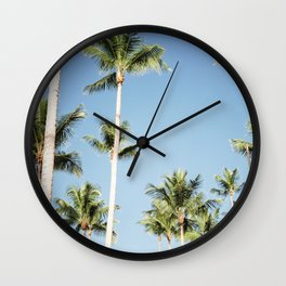Sky high palm trees | Travel photography in the Dominican Republic | Central America. Wall Clock