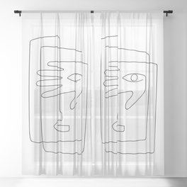 Square Face One Line Art Sheer Curtain