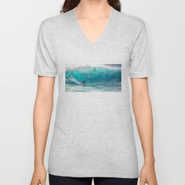 Surfing with a Giant Shark Unisex V-Neck