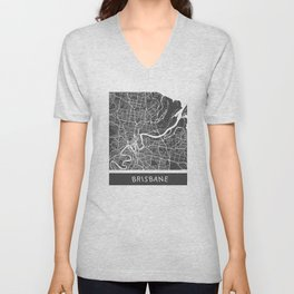 Brisbane Map orange Unisex V-Neck