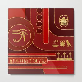 Egyptian Geometric Art Deco Red and Gold Metal Print