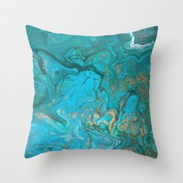 Malachite Flows - Abstract Acrylic Pour Art by Fluid Nature Throw Pillow