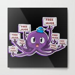 Squid Octopus Free Hugs Metal Print