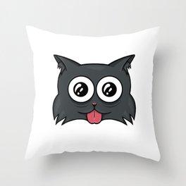 Crazy cat Throw Pillow