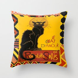Le Chat Noir D'Amour With Ethnic Border Throw Pillow