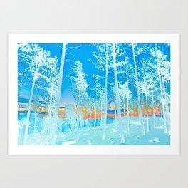 Abstract Nature Blue Forest Wall Art Art Print