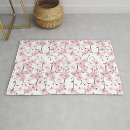 Watercolor cherry blossom Rug