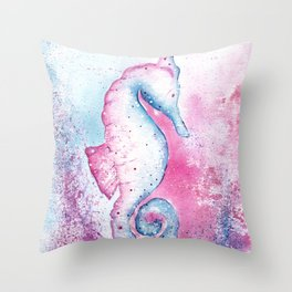 Pink and Blue Seahorse Illustration Throw Pillow
