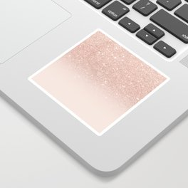 Rose gold faux glitter pink ombre color block Sticker