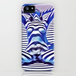 9665s-KMA_5201 Powerful Blue Woman Open Free Striped Sensual Sexy Abstract Nude iPhone Case