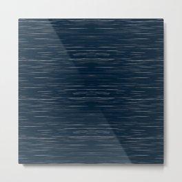 Meteor Stripes - Dark Denim Metal Print