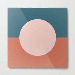 Dotted Half Half Minimalist Geometric in Blush Pink, Clay, and Blue Metal Print