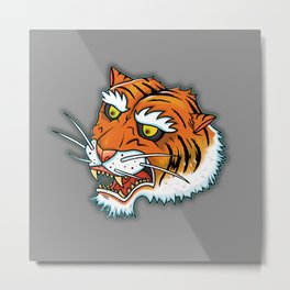 Bengal Tiger Angry Metal Print