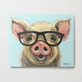 Cute Pig Painting, Farm Animal with Glasses Metal Print