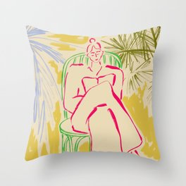 READING AMONG PALM TREES Throw Pillow