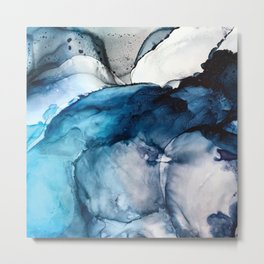 White Sand Blue Sea - Alcohol Ink Painting Metal Print