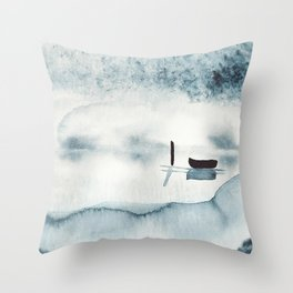 Boat on Ice / Watercolor Painting Throw Pillow