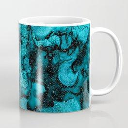 Blue Gemstone and Ink Malachite Glitter Marble Coffee Mug