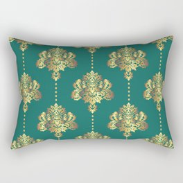 Gold damask flowers and pearls on emerald green background Rectangular Pillow