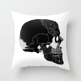 The Beauty of Human Bones // Black and White Skull // Skull Illustration with Texture Throw Pillow