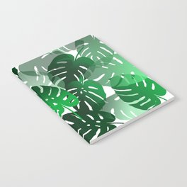 Green Big Monstera Leaves - white Notebook