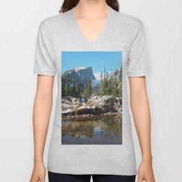 Watercolor Landscape, Dream Lake 01, RMNP, Colorado Unisex V-Neck