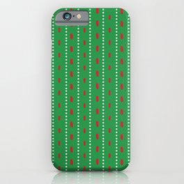 Christmas vector red and white vertical stitches aligned on green background iPhone Case