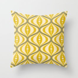 Retro Mid-Century Saucer Pattern in Yellow, Gray, Cream Throw Pillow