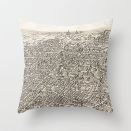 Vintage Pictorial Map of Springfield Ohio (1884) Throw Pillow