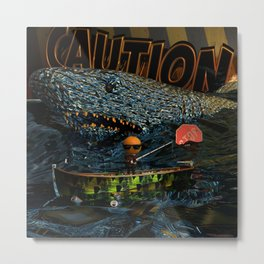 Orange Bait 0001: Caution Metal Print