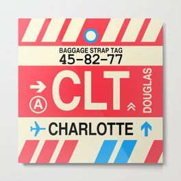 CLT Charlotte • Airport Code and Vintage Baggage Tag Design Metal Print