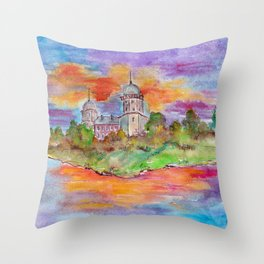 Sunset's landscape with church painting by watercolor Throw Pillow