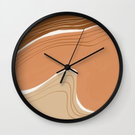 Earth tone abstract geometry Wall Clock