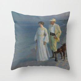 Summer Evening at Skagen beach. The artist and his wife. Throw Pillow