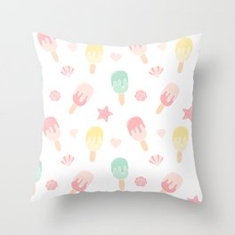 cute colorful ice cream summer pattern Throw Pillow