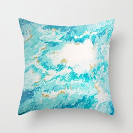 Light Blue And Gold Ocean Abstract Painting Throw Pillow