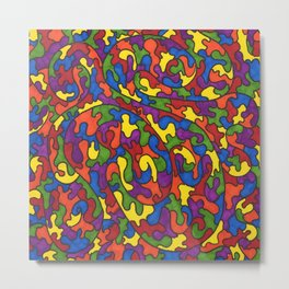 Rainbow Puzzle Pieces Pattern Metal Print