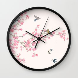 Birds and cherry blossoms Wall Clock