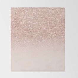 Rose gold faux glitter pink ombre color block Throw Blanket