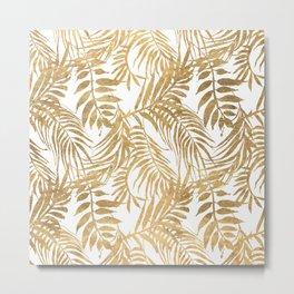 Elegant tropical gold white palm tree leaves floral Metal Print