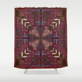 285 brown maroon  white Shower Curtain