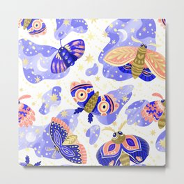 Abstract watercolor lilac navy blue gold butterflies Metal Print