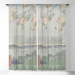 Cherry Blossoms on Spring River Ukiyo-e Japanese Art Sheer Curtain