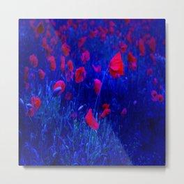Red in Blue Metal Print