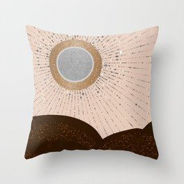 Rays of Love - Silver Bronze Throw Pillow