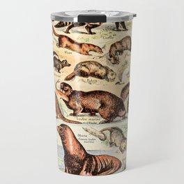 Cute Animals // Fourrures by Adolphe Millot XL 19th Century Science Textbook Diagram Artwork Travel Mug