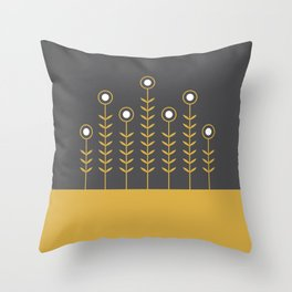 Spring Shoots (Charcoal Black, Spicy Mustard) Throw Pillow