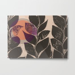 Leaves and vines with a pop of color Metal Print