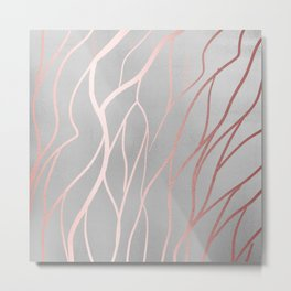 Gorgeous Sparkle Silver and Peach Pattern Metal Print
