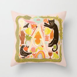 Charmed - Pink and Green Throw Pillow